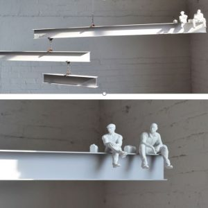 """JF Jones,""""I""""-Beam Mobile with 3-D Printed Figures, 2017, various sizes"""