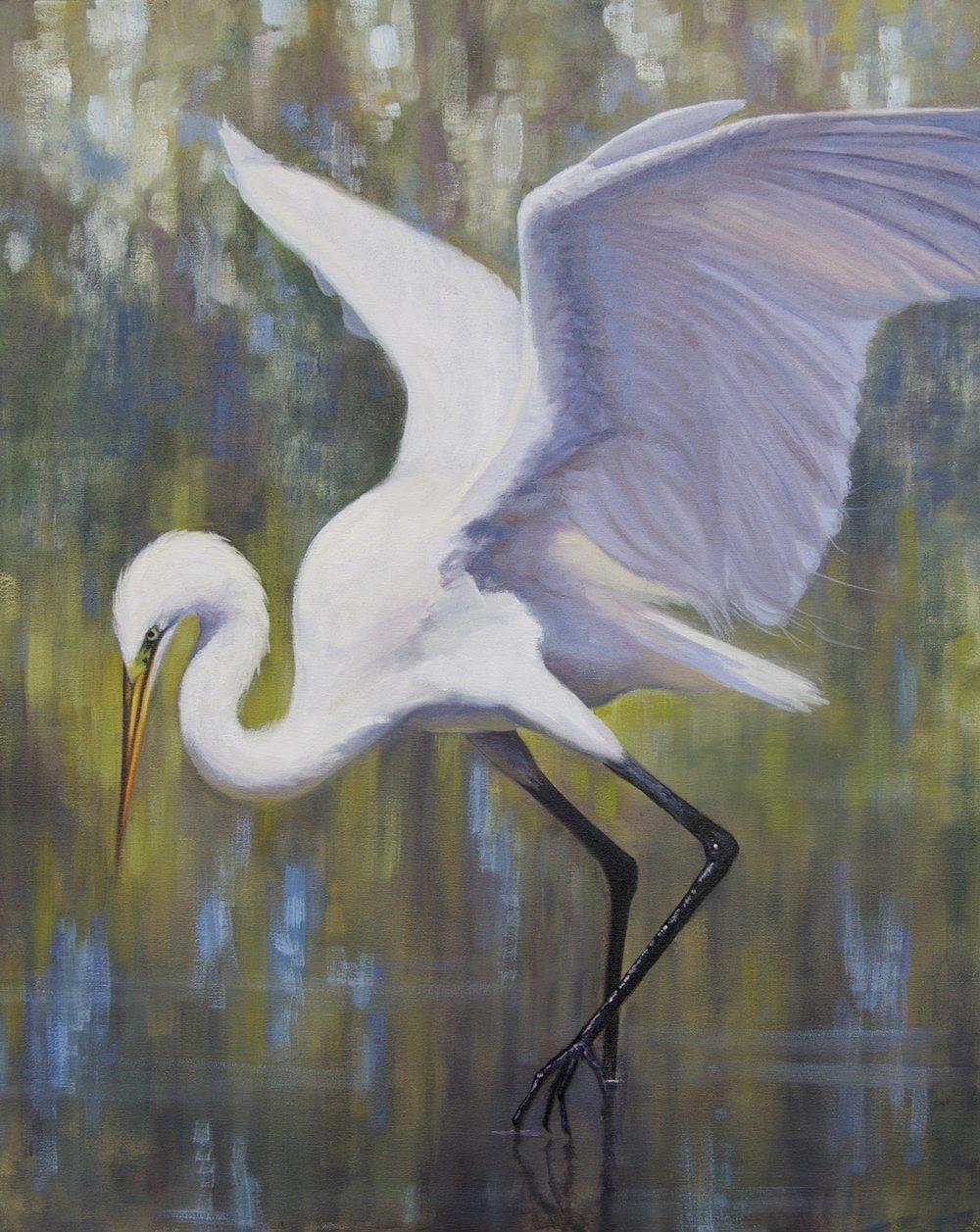 "Holly Glasscock,Egret Dance, 2017, oil on board, 24"" x 30"""