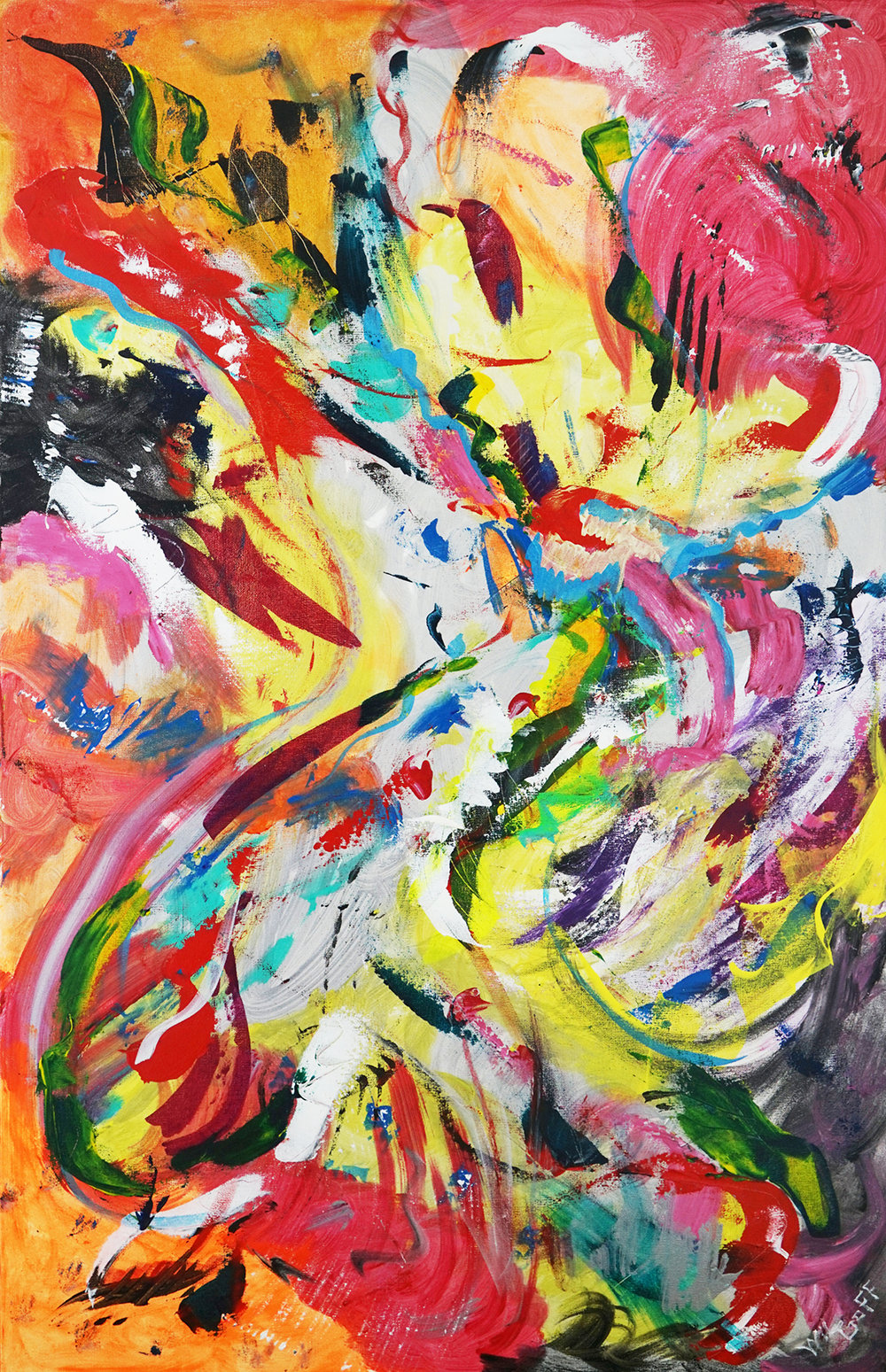 "Wil Goff, Jubilant, acrylic, 40"" x 38"""