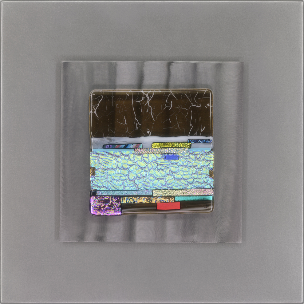 "Jennifer Hollack, Gulded Vista, glass pieces mounted on stainless steel boxes, 20"" x 20"""