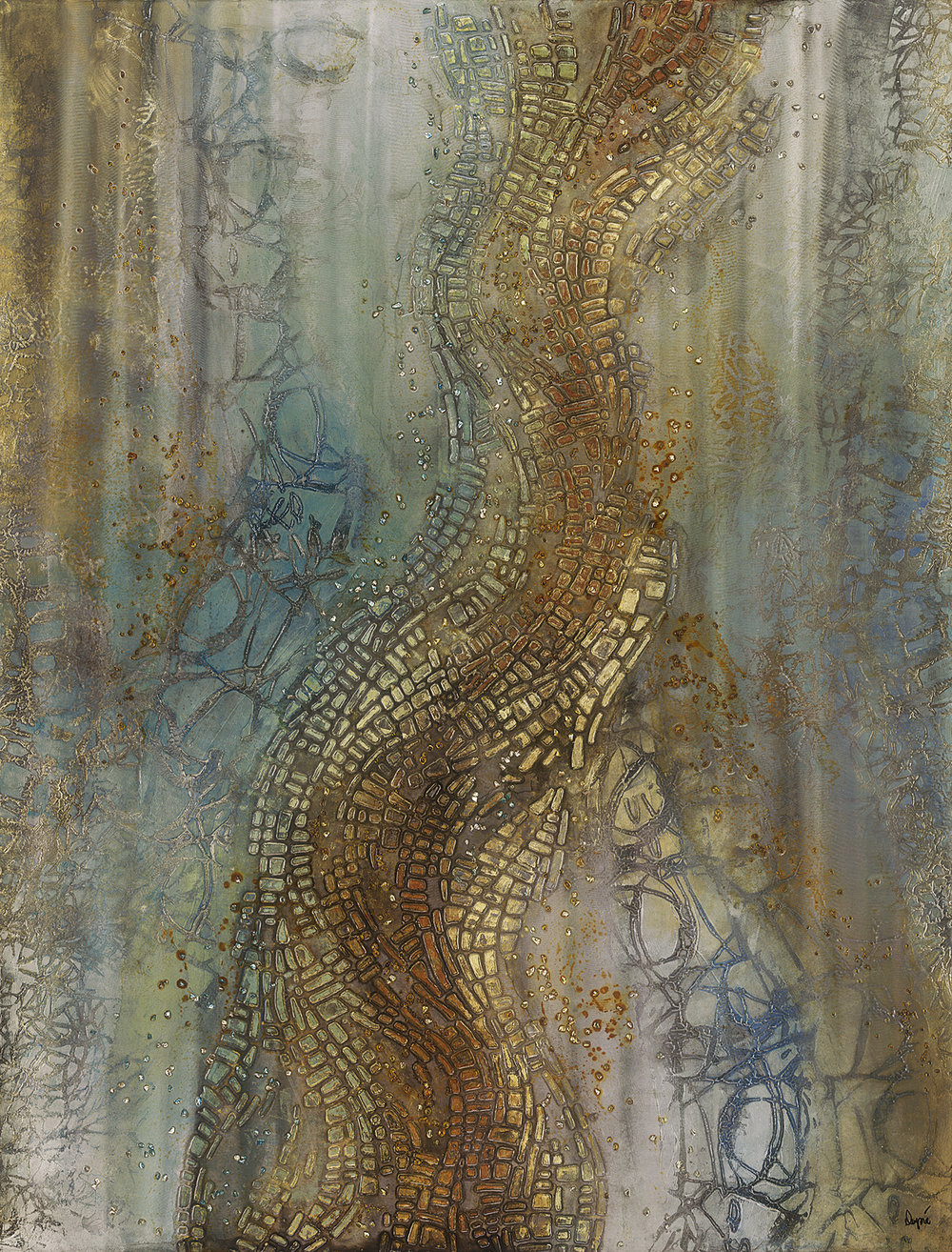 "Karen Dupre,  Alveo , cut glass on stainless steel, 52"" x 40"""