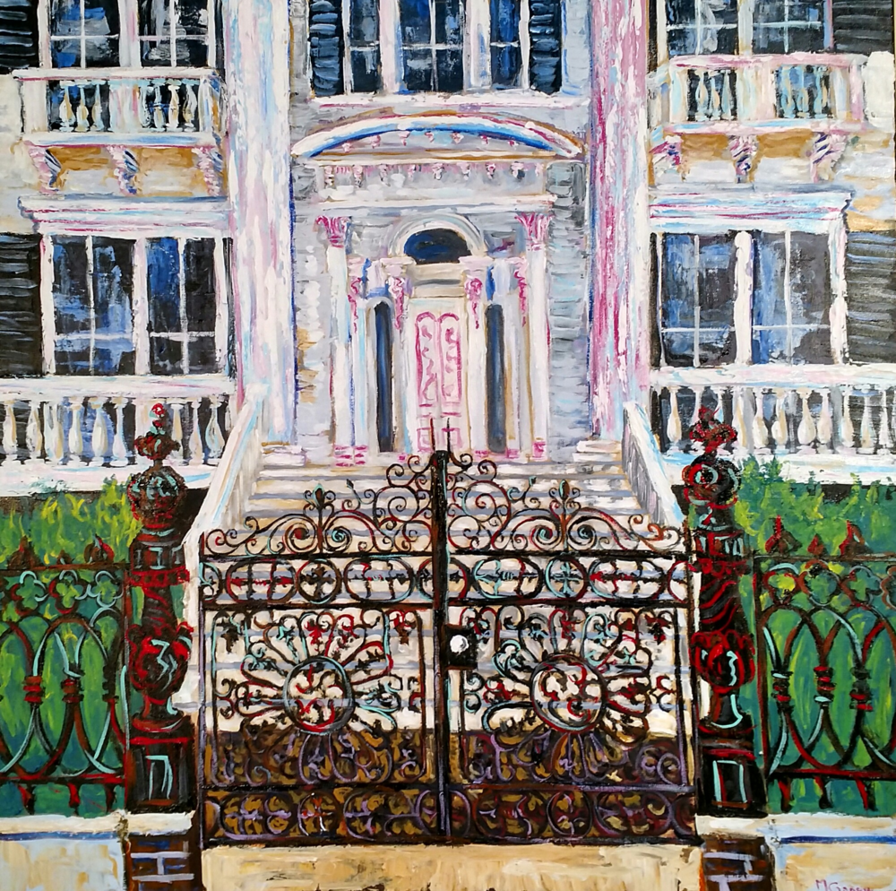 "Mark Gansor,  the Bellamy Mansion,  2016, acrylic, 36"" x 36"""