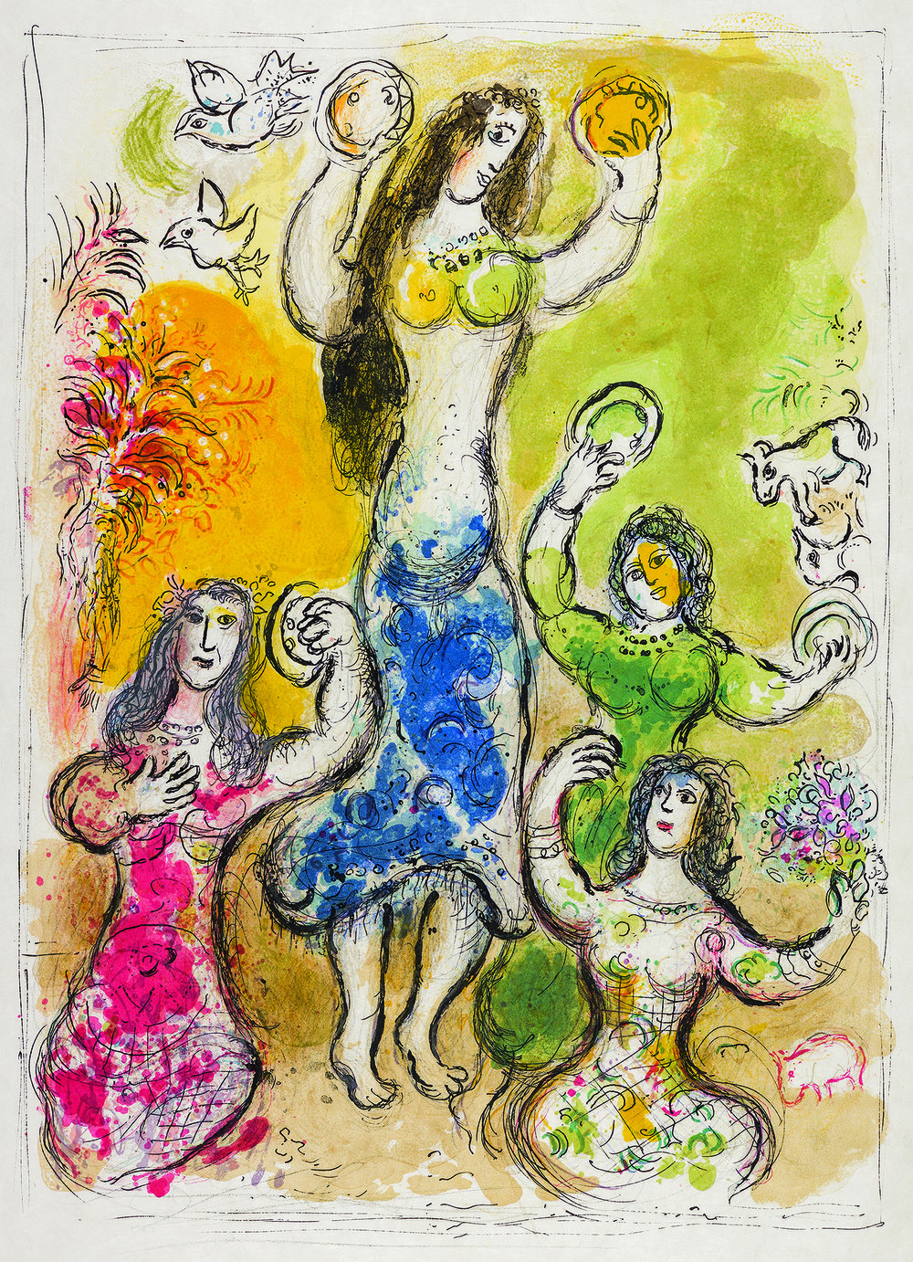 """And Miriam the prophetesse, sister of Aaron, tooke a timbrell in her hande, and all the women came out after her with timbrells and dances."" ""The Story of the Exodus"" lithographs by Marc Chagall. Paris, New York: Leon Amiel, 1966. 50 x 37 cm, 285 ex."