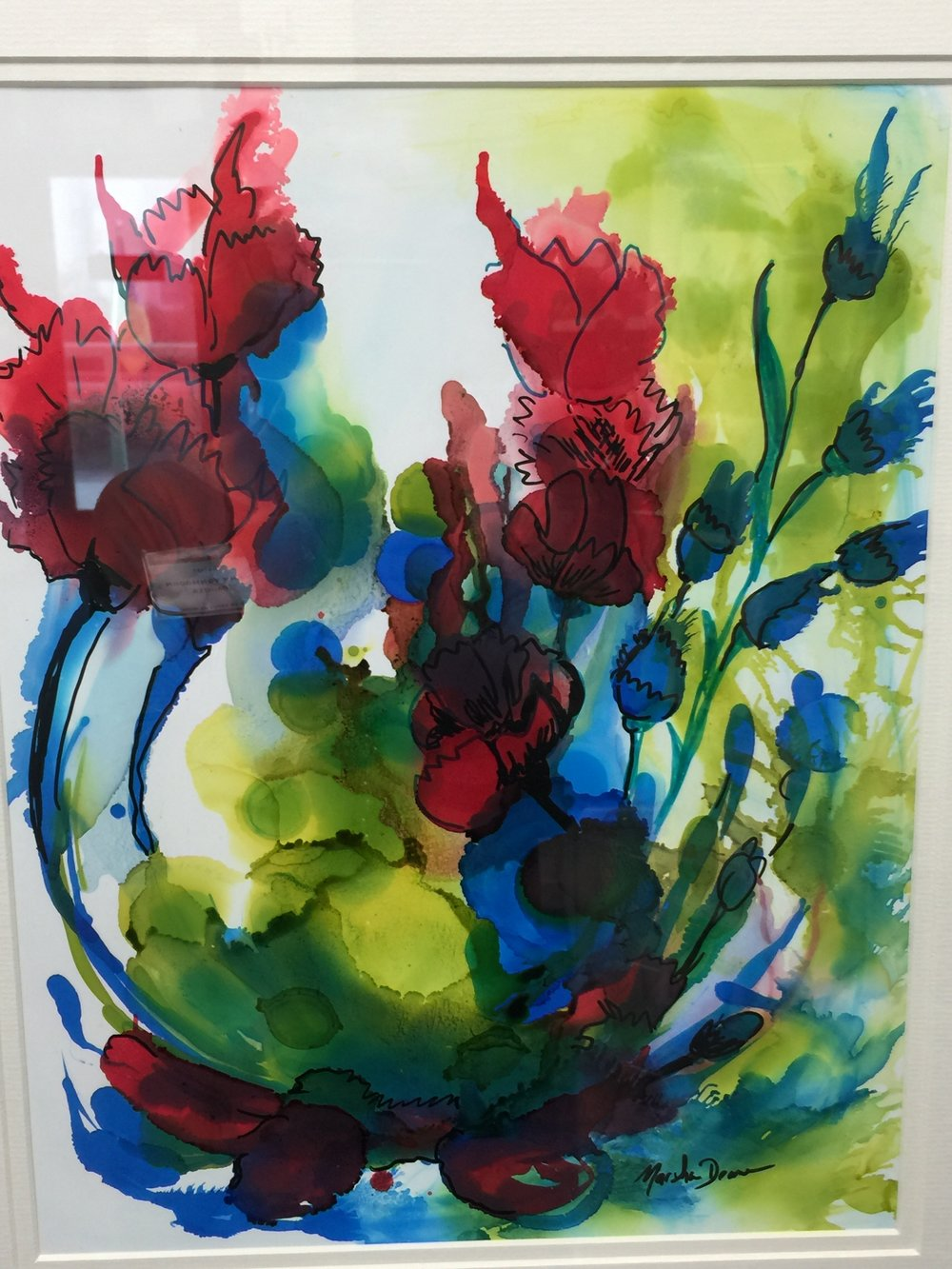 "Marsha Deane,  Alcohol Ink Floral,  16"" x 20"""