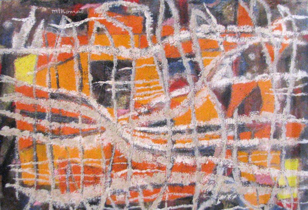 "Mary Leath Thomas,  Orange Pattern , gouache on paper, 23"" x 29"""