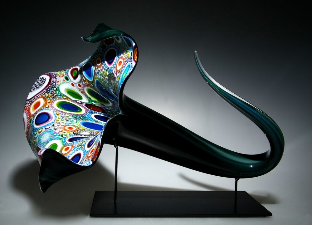 David Patchen,  Mixed Murrine Bloom,  hand blown glass, 24 x 17 x 2