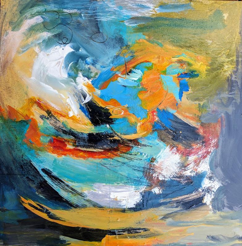 "Jillian Goldberg, Confluence , 2017, acrylic, 20"" x 20"""
