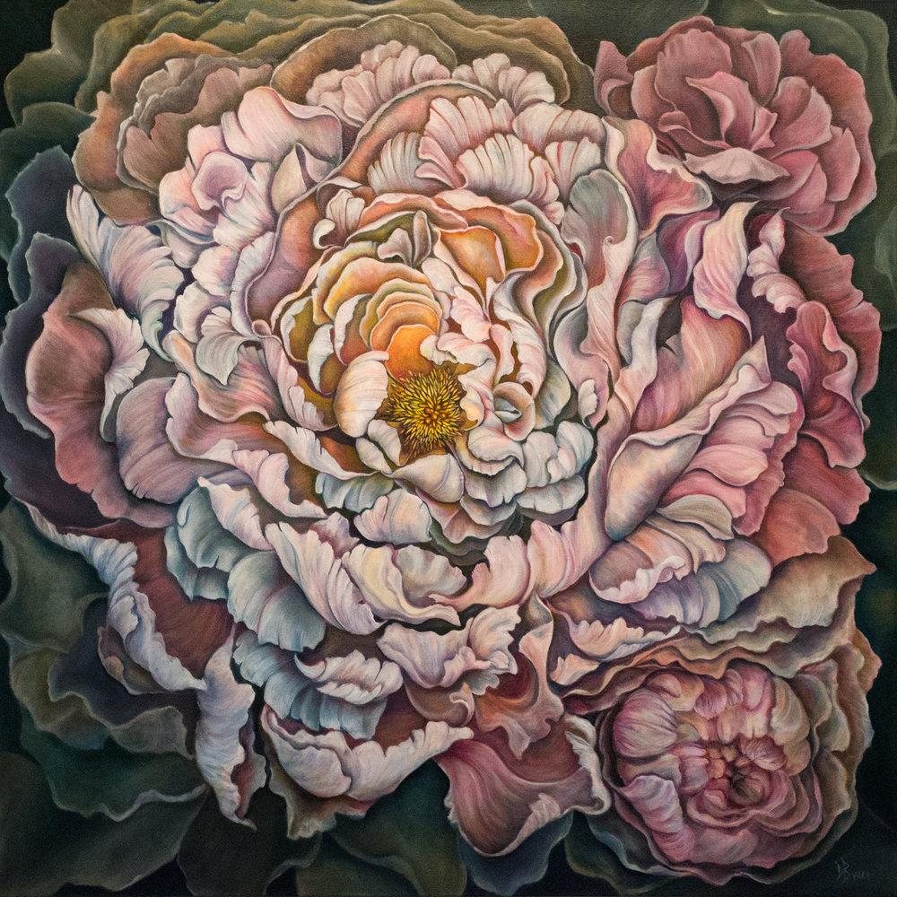 "Debra Bucci, Awakening ,2018, oil on canvas, 48"" x 48"""