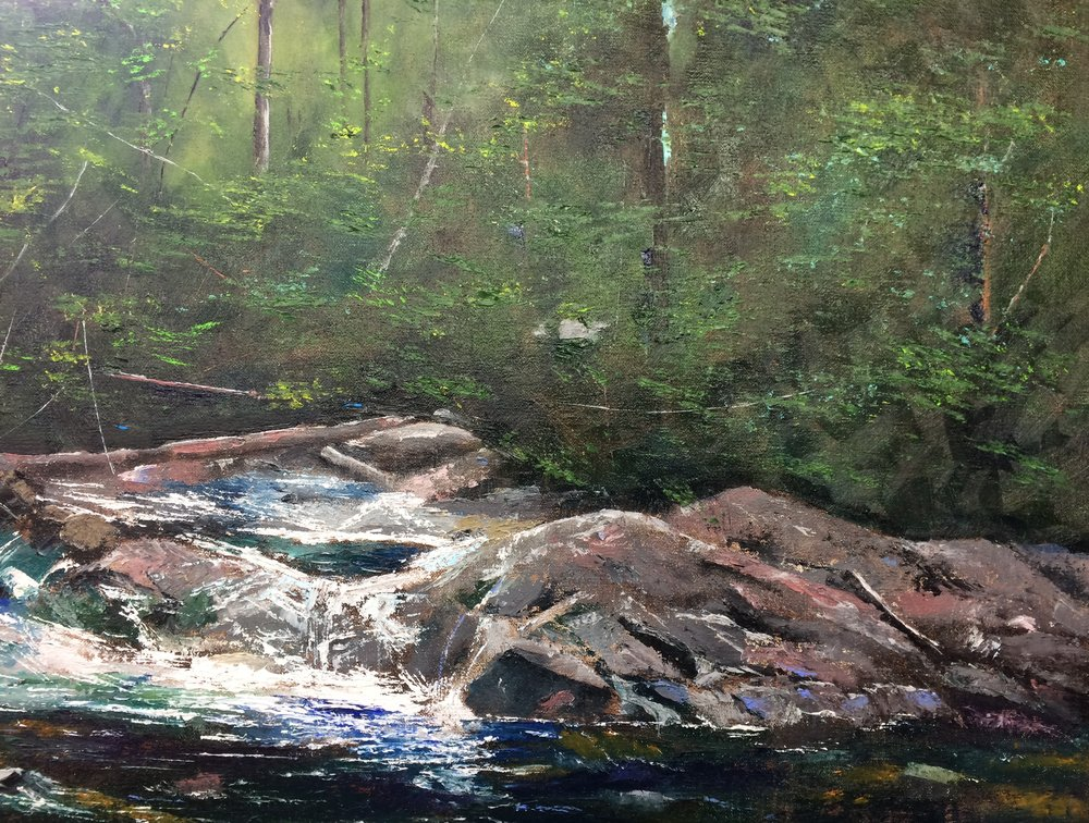 Jim Hallenbeck - Image: Linville Falls Duggers CreekJim's approach in painting is to represent each subject realistically using an impressionistic style to accentuate its bright color and detail. In turn, Jim hopes to communicate something to the viewer, to trigger an emotion, or to spark a memory that resonates on a unique personal level.