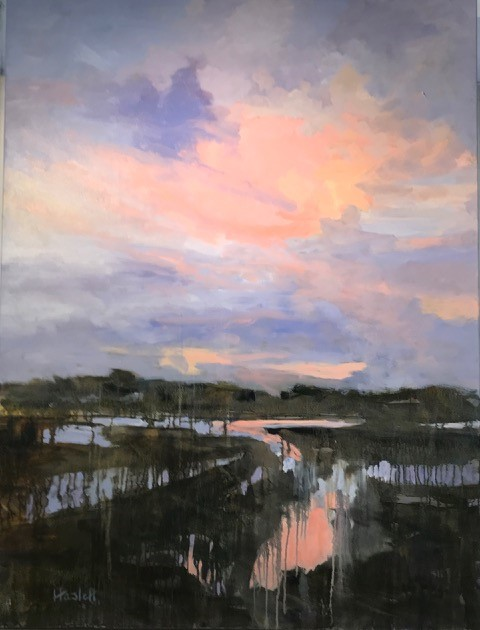Bekah Haslett - Image: Sunset at Pawley's IslandBekah loves to celebrate all things outdoors. She paints landscapes and figures en plein air and paints larger abstracted landscapes in the studio.