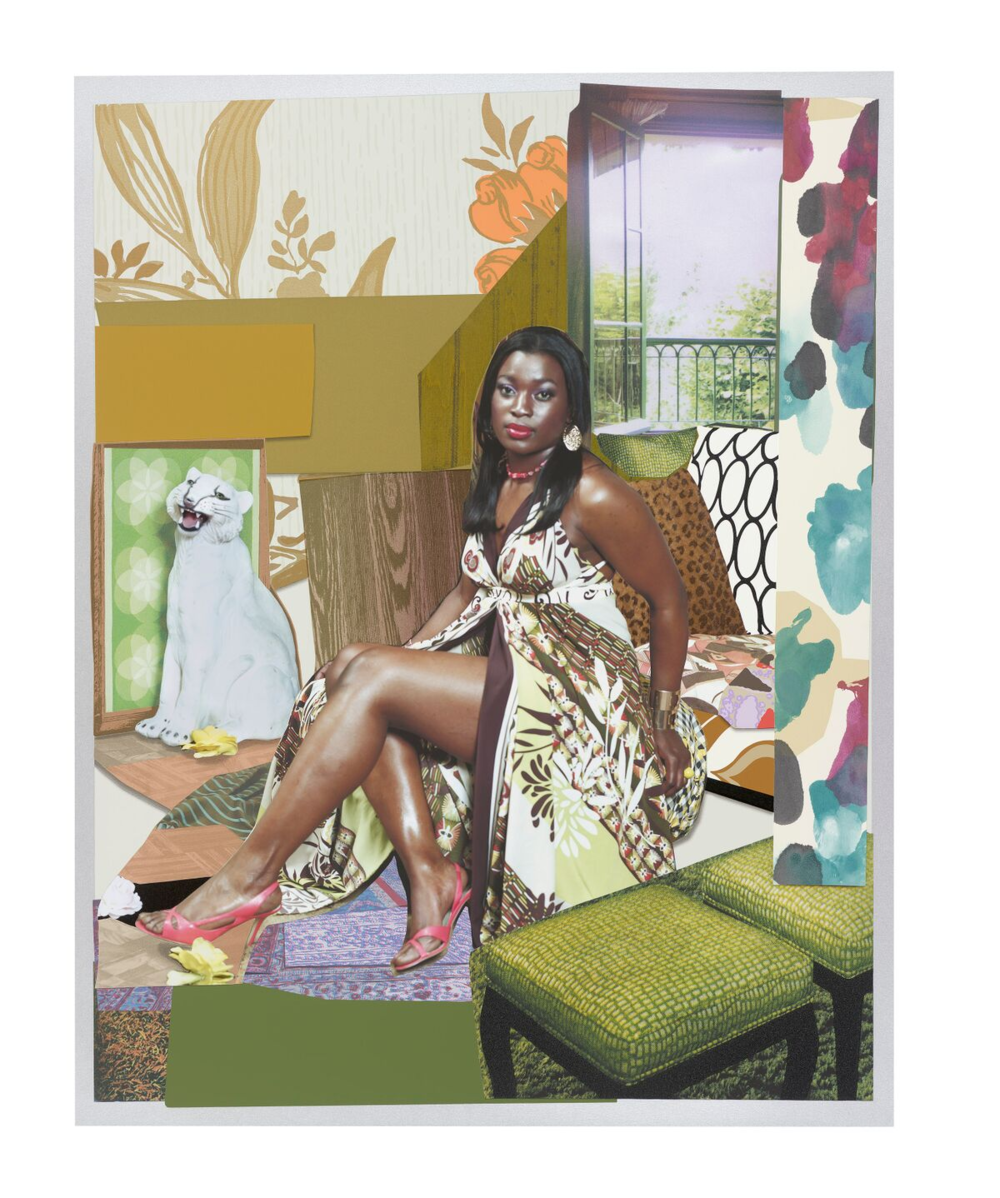"Mickalene Thomas (American, b. 1971), ""I've Been Good to Me,"" 2015, ed. 14/20, unique mixed media print with screenprint, monoprint, silica flocking, wood veneer, and digital printing on museum board, 56 1/2 x 45 inches, Collection of Jordan D. Schnitzer, 2016.233. Photo: Strode Photographic LLC"