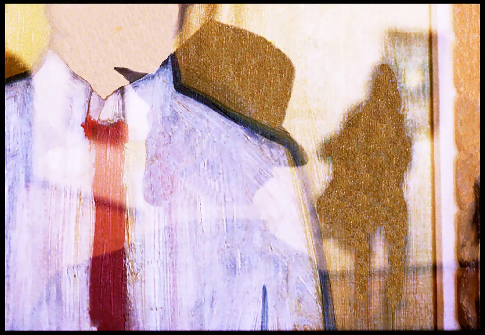PETER FILENE - Peter, His Hat, Phillips Gallery, Washington DCI'm obsessed with layering photographic images. For twenty years I've shot double exposures on film in the camera (not in Photoshop or in the darkroom), pairing people with works of art. After taking one picture, I cock the shutter again without advancing the film. Double exposures are born out of the marriage between intention and chance. I've lived in Chapel Hill/Carrboro since 1967. Until I retired, I taught American history at the University of North Carolina.