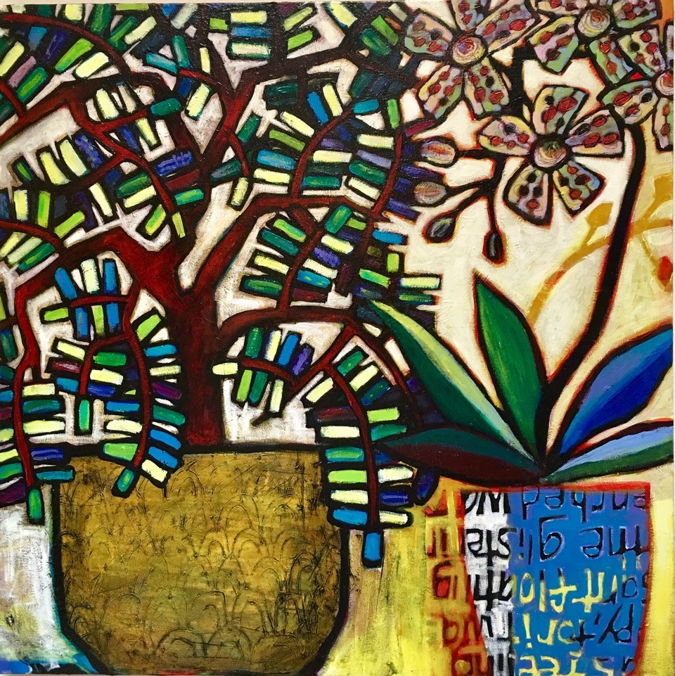 MICHELE B MAYNARD - Botantico Convo, no.2I choose playfulness and beauty and mystery over shock value and politics and angst. I choose painting because it's magical and prayerful and maddening and obsessive and utterly addictive. I grew up in Atlanta and Honolulu. I have an MFA from University of Michigan. I taught at Oregon College of Arts and Crafts and the Penland School. I have artwork in state and city collections in the Northwest and have pieces in corporate collections across the US. My commercial work includes print design for Fabricart Inc and illustrations for Whole Foods Market and World Wildlife Fund Canada. I currently live in Chapel Hill.