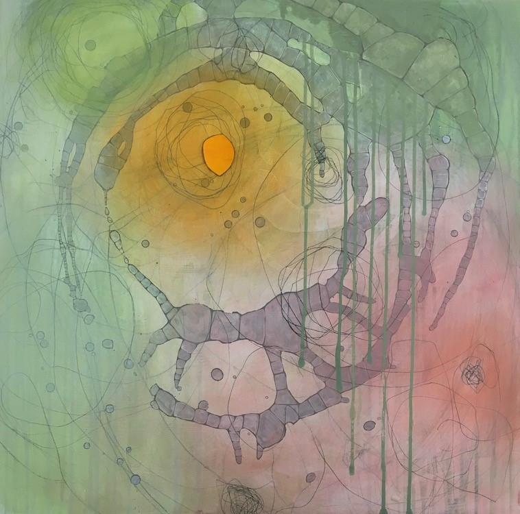 LUNA LEE RAY - Eye of the StormMy work is informed by the natural world- in my latest work, by air, moisture, mist, and light. I work in layers to build a surface that conveys the sense of air currents and weather patterns. I use graphite, charcoal, collage, gesso , and acrylic paints to achieve the atmospheric depth I'm after.