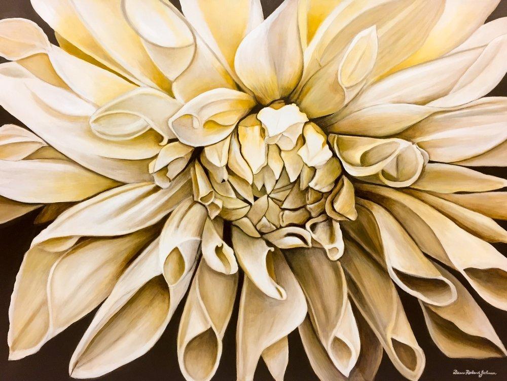 """Morning Dahliance , acrylic on canvas, 36"""" x 48"""""""