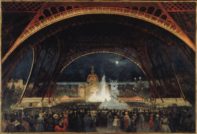 Alexandre-Georges Roux, known as George Roux (1855–1929).   Nighttime festivities at the International Exposition of 1889 under the Eiffel Tower , 1889.  Oil on canvas, 25 5/8 x 37 3/8 in. Musée Carnavalet. © Musée Carnavalet / Roger-Viollet