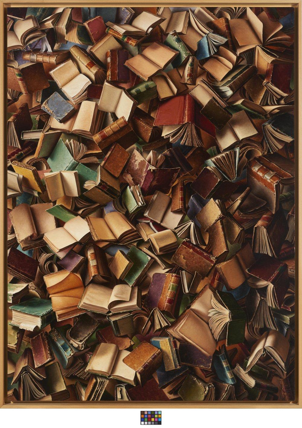 Joel Besmar, Cuban (Camagüey, Cuba, 1968 - ),  Descensus (The Descent),  2013, oil on canvas, 78 5/8 x 57 1/2 inches. Image courtesy of Modernism Inc., San Francisco.