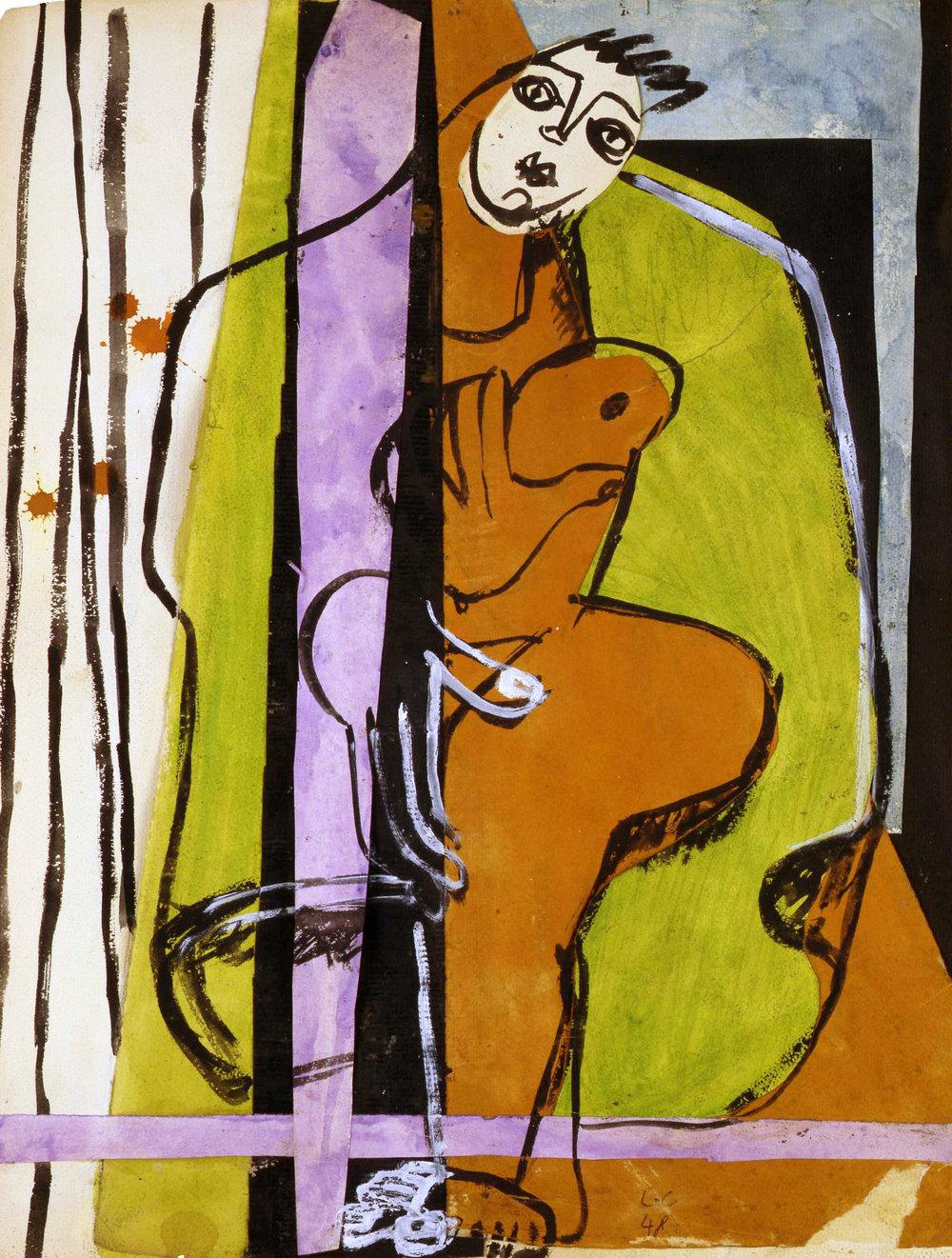 Charles-Édouard Jeanneret, called Le Corbusier, Swiss/French (La Chaux-de-Fonds, Switzerland, 1887 – 1965, Roquebrune-Cap-Martin, France),  Coeur sur la main , 1948, collage and gouache on paper, 19 1/8 x 14 1/2 inches. Image courtesy of Modernism Inc., San Francisco.