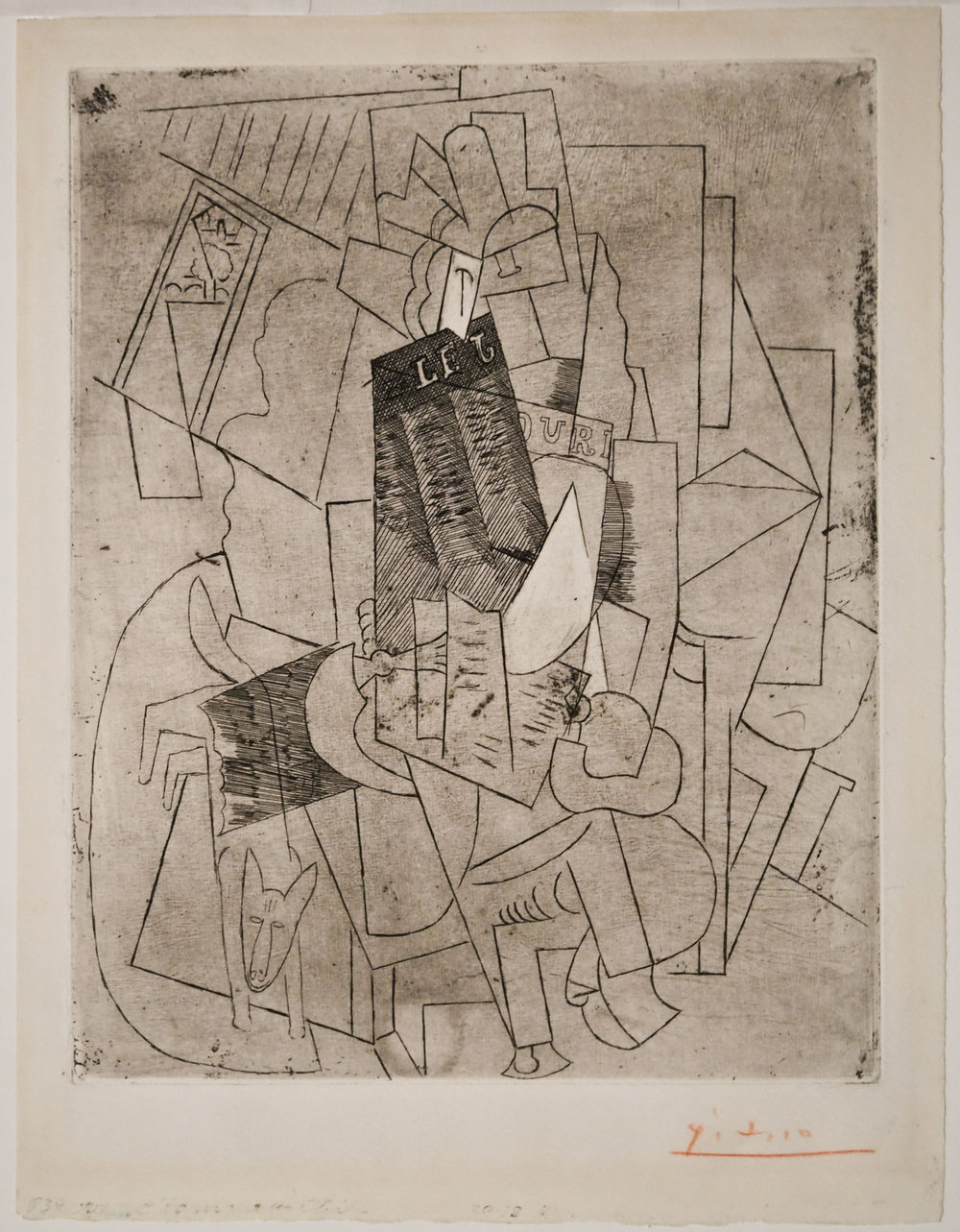 Pablo Picasso, Spanish (Málaga, Spain, 1881 – 1973, Paris, France),  L'Homme au Chien (Rue Schoelcher),  1915, etching with scraper printed on Arches wove paper, Edition of 60, 10 ¾ x 8 5/8 inches. Image courtesy of Modernism Inc., San Francisco.