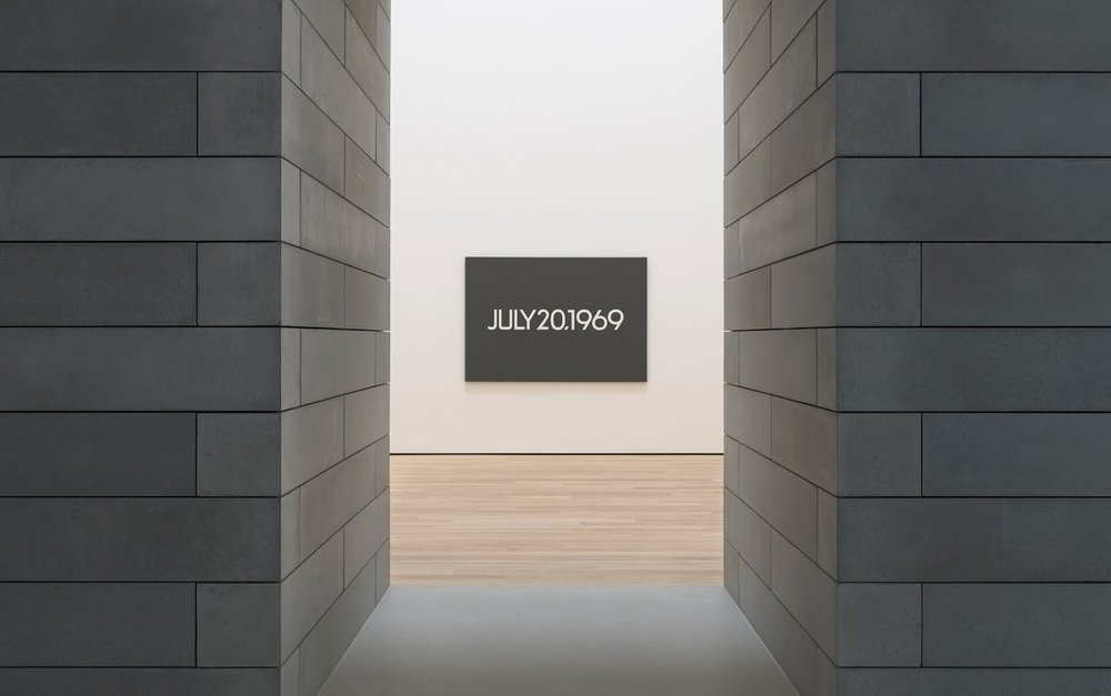 On Kawara,  Moon Landing  (detail), 1969, from the Today series (1966–2013), acrylic on canvas three panels, each 61 x 89 inches (155 x 226 cm) Photo: Ron Amstutz Courtesy Glenstone Museum. ©One Million Years Foundation