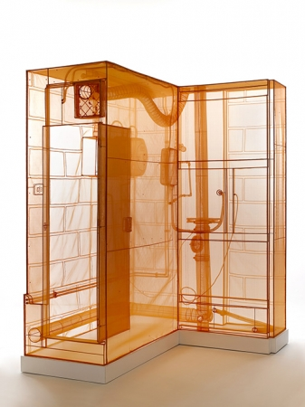 Do Ho Suh.  Boiler Room, London Studio , 2015. Polyester fabric and stainless steel tubes, 90 1/2 x 63 x 74 3/8 in. Collection of Yale Art Gallery. © Do Ho Suh