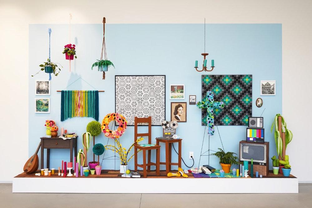 """Julie K. Gray, """"Waiting Room,"""" mixed media installation"""