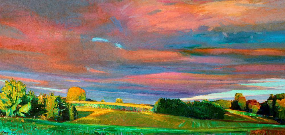 Charles Basham,  PASTURES AT DAWN  2018, Pastel on Paper, 20 x 40 inches, JMG19255