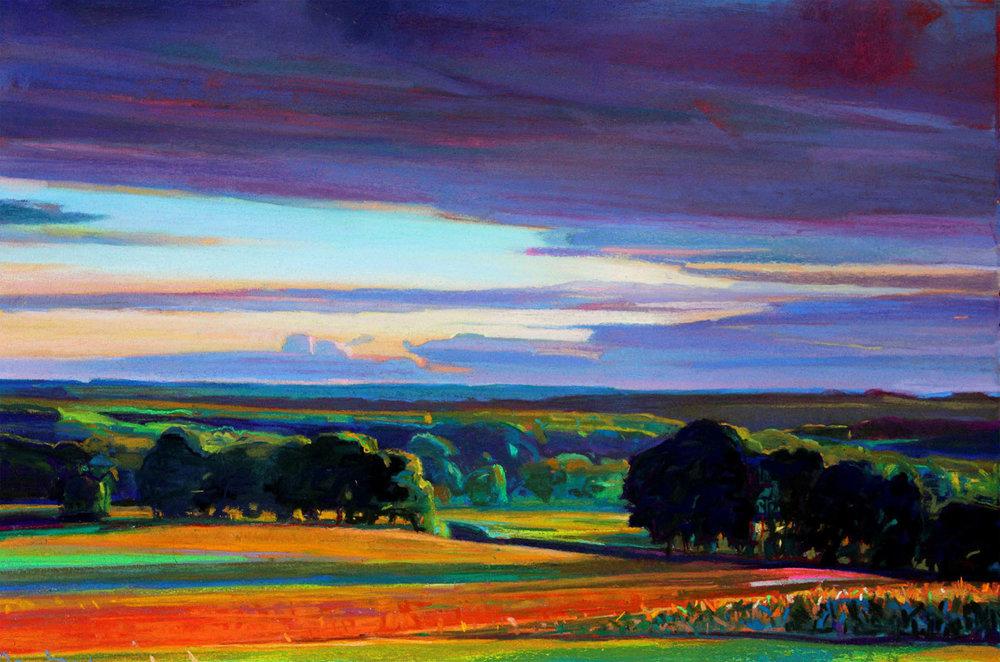 Charles Basham,  Study for LAST LIGHT , 2018, Pastel on Paper, 15 x 22 1/4 inches, JMG18950