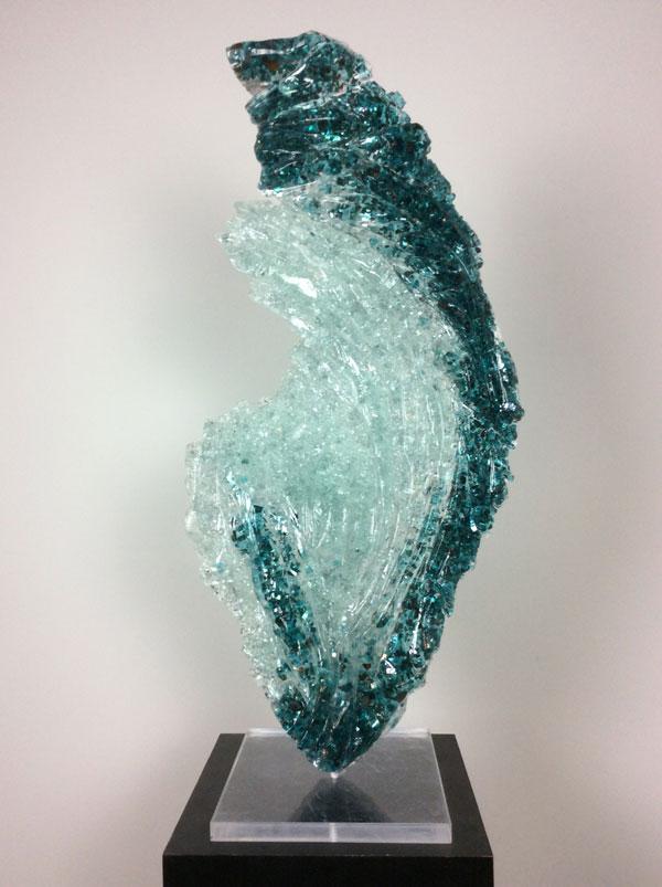 "Strata , 2018, glass and acrylic, 37"" x 19"""
