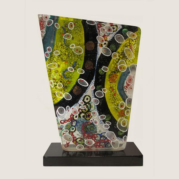 "Slice of Life 3 , 2016, fused glass, 15"" x 9"" x 4"""