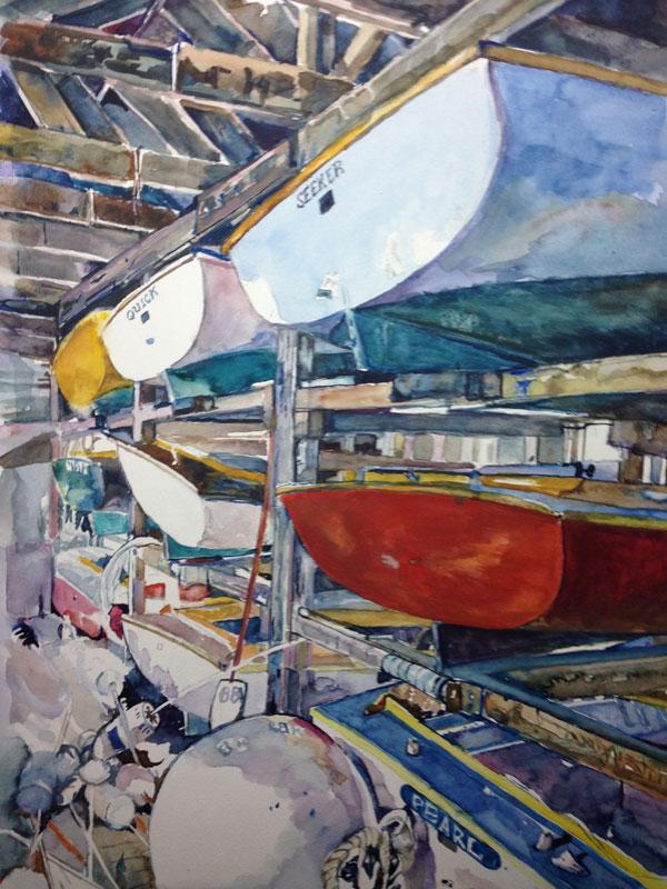 "Brooklin Boatyard #2 , 2016, watercolor, 15¼"" x 11½"""
