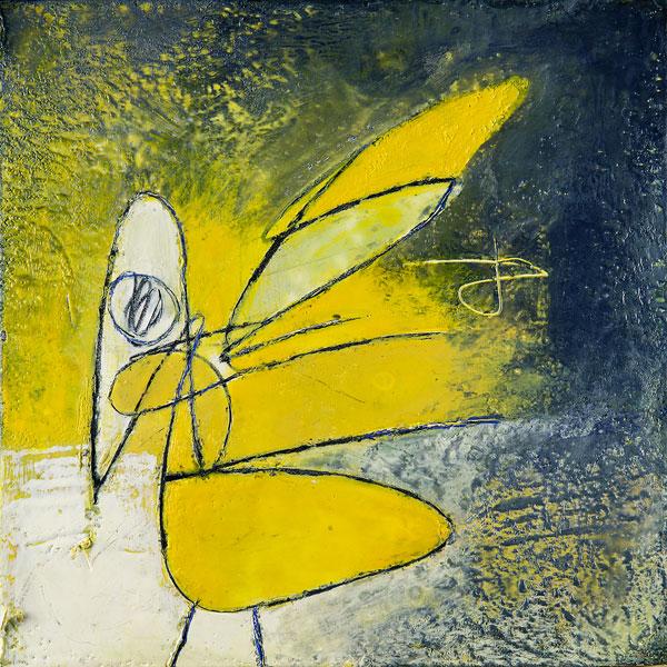 "Yellow Bird , 2017, encaustic, 16"" x 16"""