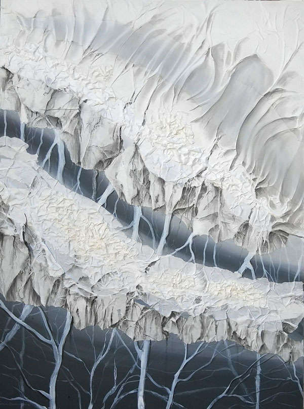 """Dancing White and Gray , 2018, paper and acrylic paints, 48"""" x 36"""""""