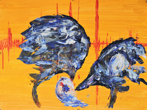 """Endangered: California Condors with egg , 2017, acrylic and pastel on paper, 18"""" x 24"""""""