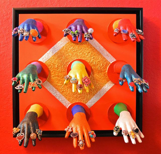 """Hands , 2016, mixed medium, 27"""" x 27"""""""
