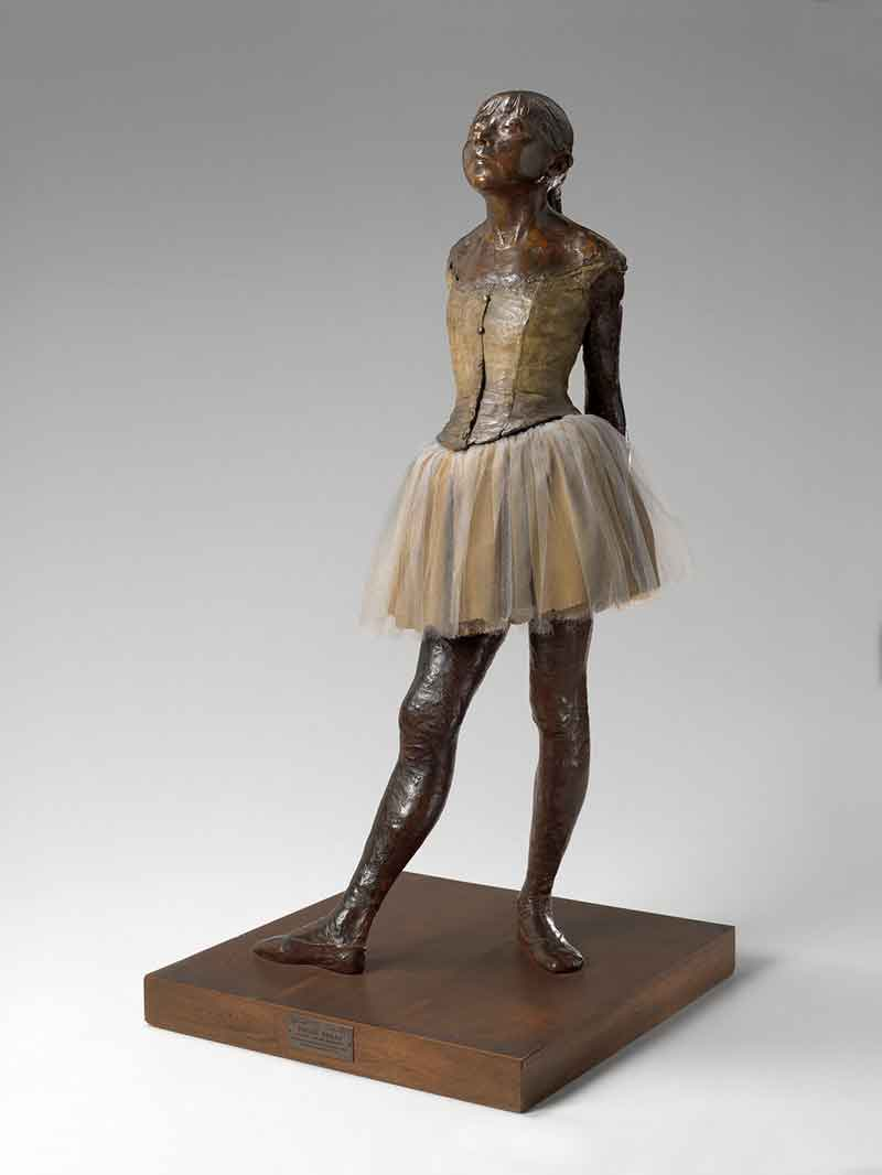 Edgar Degas (French, 1834–1917). The Little Dancer, Aged Fourteen, model executed in 1880 (cast after 1922). Bronze, cloth skirt with tutu, and satin hair ribbon, 38 1/2 x 14 1/2 x 14 1/4 in. Virginia Museum of Fine Arts, Richmond, State Operating Fund and the Art Lovers' Society, 45.22.1. Image © Virginia Museum of Fine Arts. Photo: Travis Fullerton
