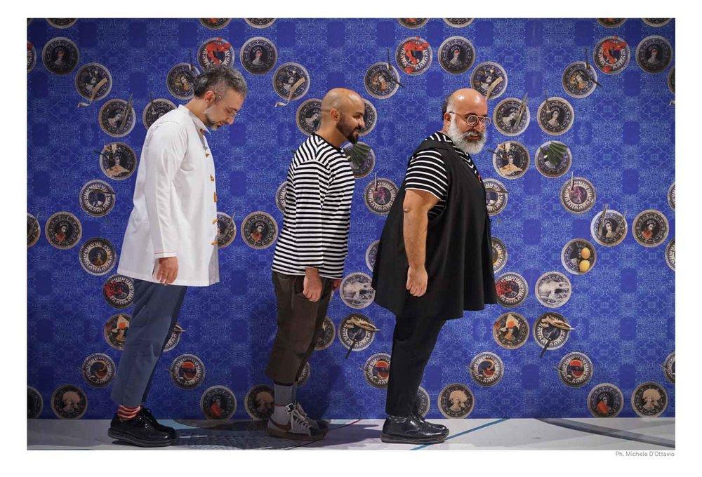 From left to right: Rokni Haerizadeh, Hesam Rahmanian, Ramin Haerizadeh. Photo: Courtesy of OGR Torino and the artists.
