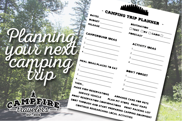 camping trip printable planner campfire travelers