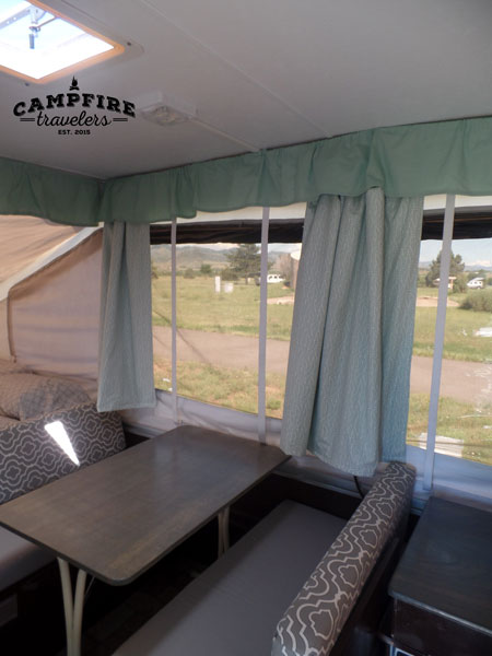 Replacing curtains in a pop-up camper — Campfire Travelers