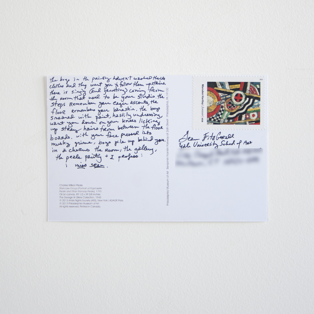 """miss sean , 2014 two-sided printed postcard featuring Charles Willson Peale's  Staircase Group ,ink, Marsden Hartley postage stamp,6"""" x 4"""""""