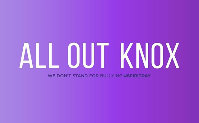 We're going purple for #SpiritDay! Join us by wearing purple all day Thursday, October 19th in support of LGBTQ youth and against bullying 💜💜💜 #GLAAD #spiritday #lgbt #aok #alloutknox