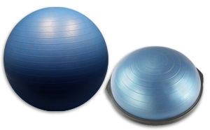 swiss ball and bosu equipment