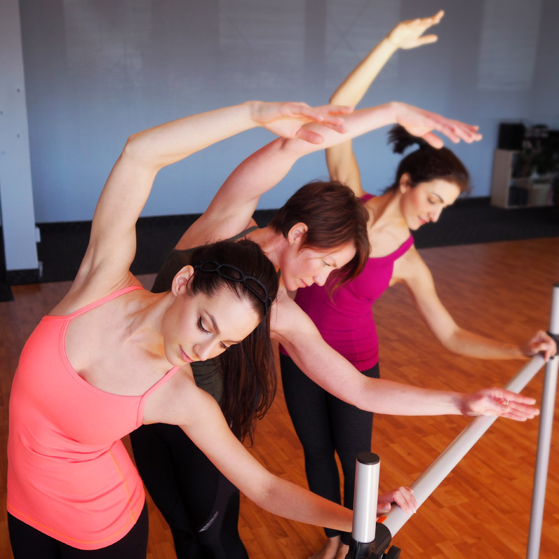 Clients in an Intelligent Barre class