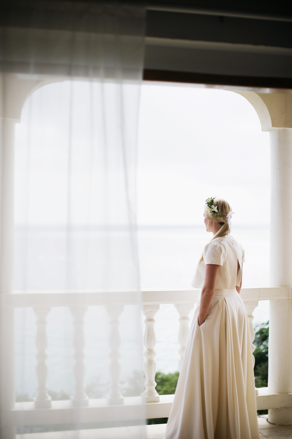 Bride standing on a deck in St Thomas Usvi