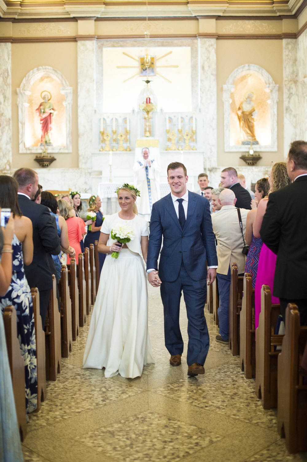 Bride and groom in St Peter and Paul Cathedral in St Thomas USVI