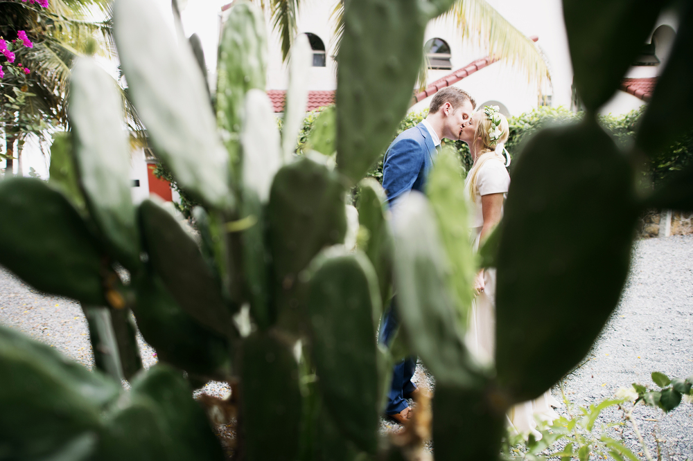 Bride and Groom kissing in St Thomas USVI
