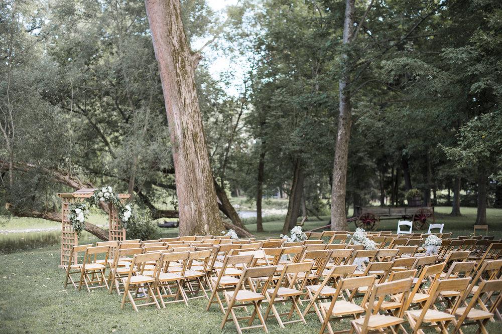 Wedding ceremony set up at orbits in buffalo NY