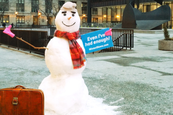 Snow advertising with snow sculptures