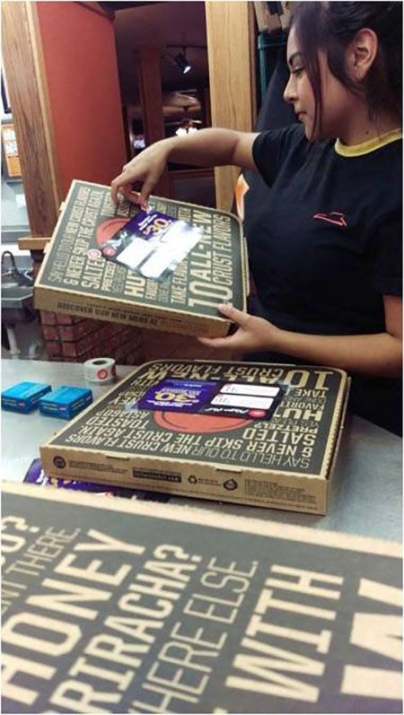 Fun Pizza box advertising