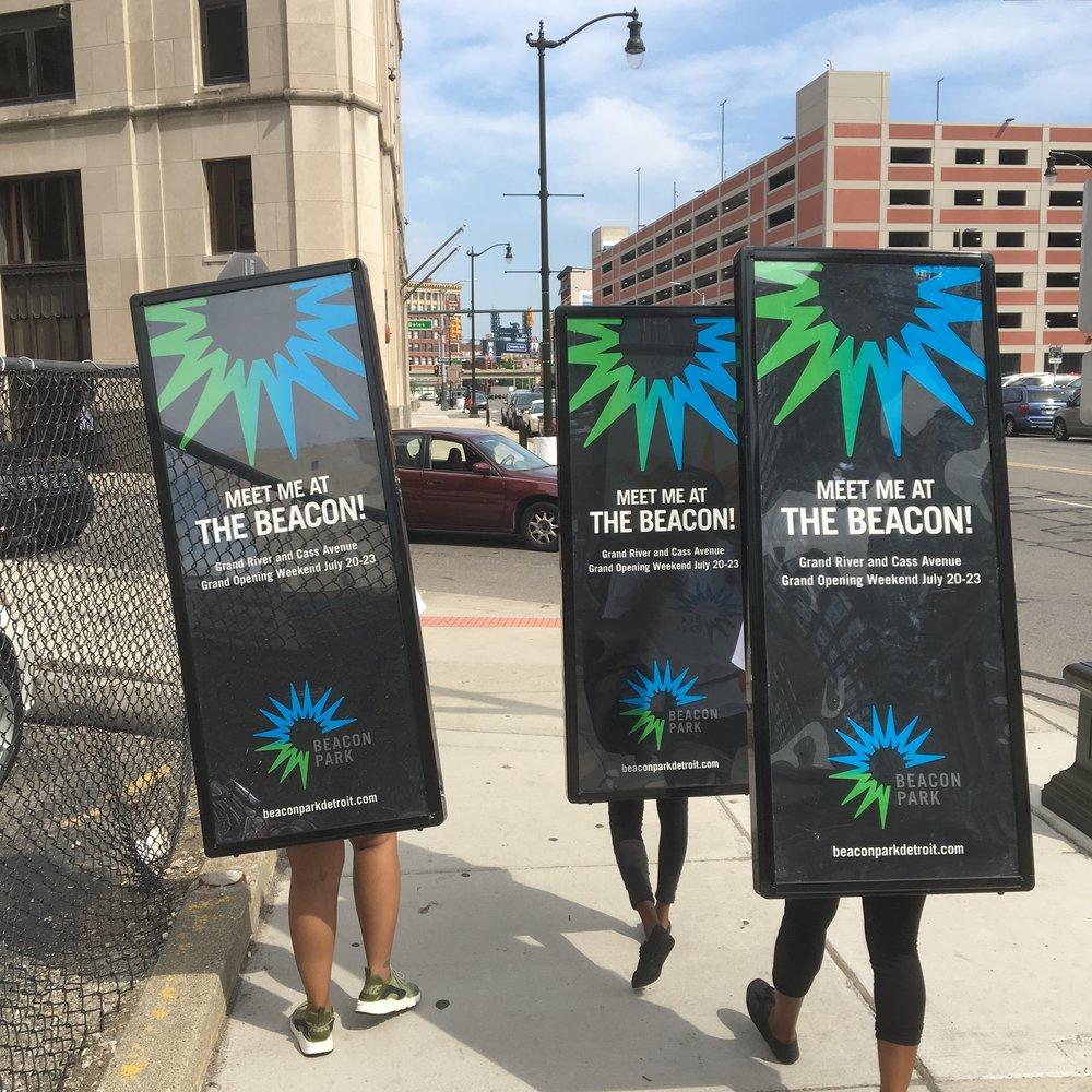 fun walking billboards, billboard backpacks